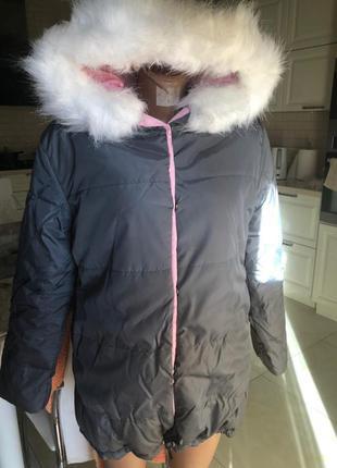Женская двухсторонняя зимняя куртка с мехом зефирка