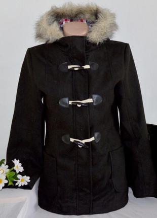 Брендовое демисезонное подростковое пальто с капюшоном и карма...