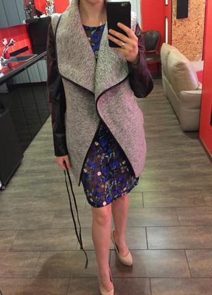 Стильное пальто-жакет с кожаными рукавами, пальто-трансформер