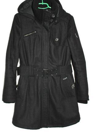 Пальто утеплённое капюшон пояс шерсть khujo