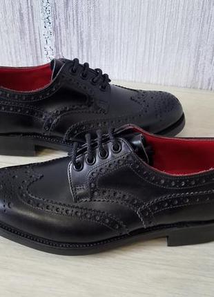 Кожаные подростковые туфли броги оксфорд   dainite англия