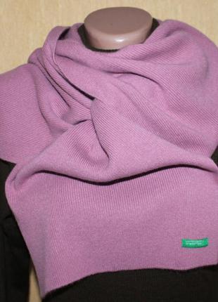 Красивый шарф шерсть фрезовый (розовый) от benetton, франция