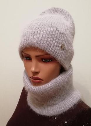 Молодёжный комплект шапка и бафф серый