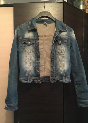 Джинсовка укорочённая деним жакет пиджак