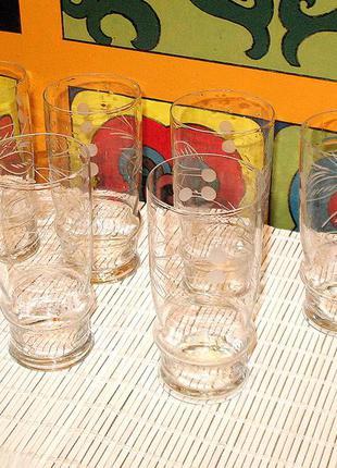 Набор стеклянных стаканов, 6 шт., советский винтаж