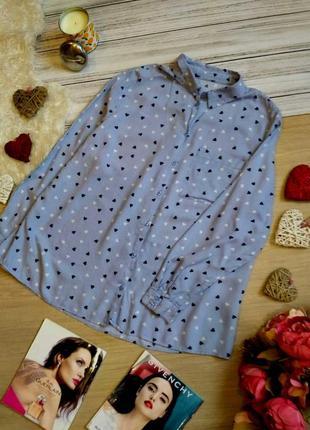 Модная вискозная рубашка в полоску , в сердечки размер 18-20 (...
