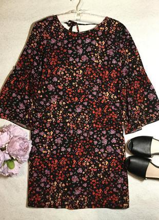 Платье в цветы рукава клёш  george 12 размер