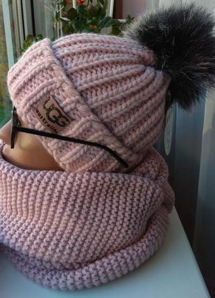 Новый красивый комплект: шапка (на флисе) и хомут восьмерка, р...