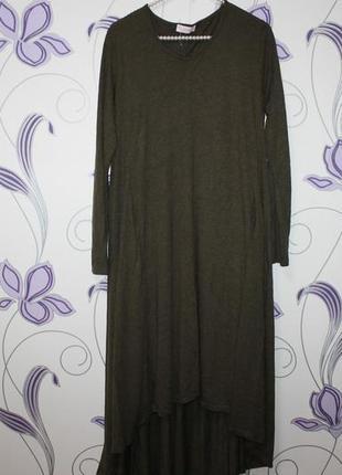 Свободное платье с карманами  в стиле бохо вискоза италия