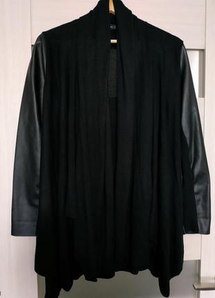 Кардиган кофта черная с кожаными рукавами кожзам zara