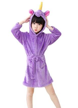 Халат детский единорог фиолетовый 125 7209