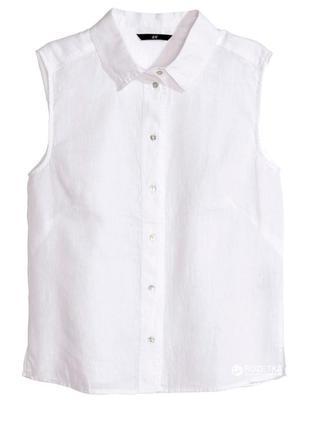 Белая льняная рубашка h&m без рукавов