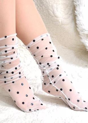 Супер стильные фатиновые носки в горох/белый/черный/новая колл...