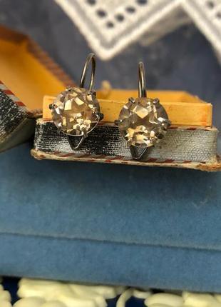 Винтажные серьги ссср серебро 875 пробы, горный хрусталь