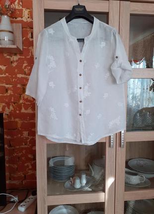 Белоснежная с с вышивкой рубашка большого размера