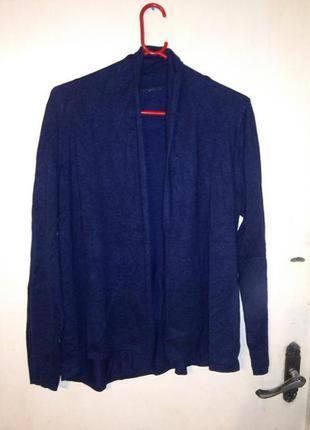 Трикотажный,тонкой вязки,свободный,синий кардиган-кофта,большо...