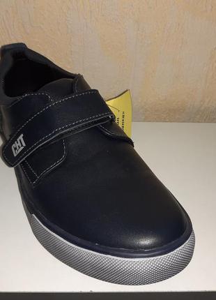 Кожаные туфли 37 р. cat на мальчика, синие