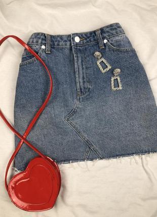 Юбка джинсовая с необработанным низом forever 21