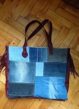 Оригинальная  сумка из кожи и джинса_кожаная сумка шоппер с ба...