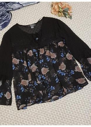 Шифоновая блуза primark/блуза с кружевом/большой размер