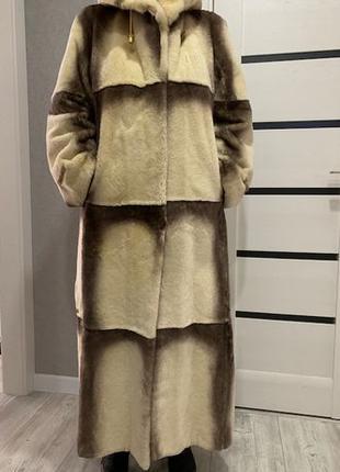 Зимняя норковая Итальянская женская шуба с капюшоном 42 размера
