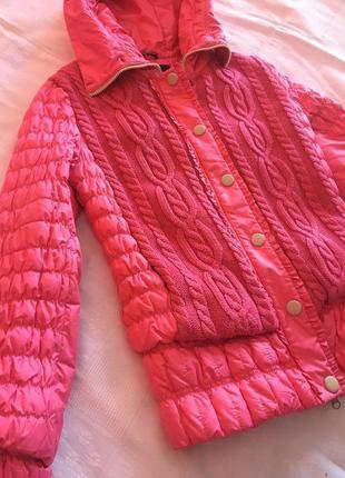 Розовый яркий пуховик куртка