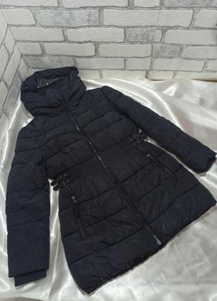 Куртка длинная зимняя на силиконе капюшон прячеться в воротник