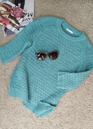 Oodji стильный свитер/джемпер бирюзового цвета,красивой рельеф...