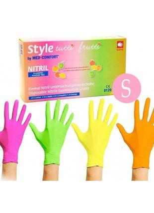 Цветные однорaзовые нитриловые перчатки Style (96 шт) размер S
