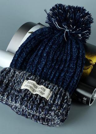 13-230 стильна яскрава в'язана шапка вязаная