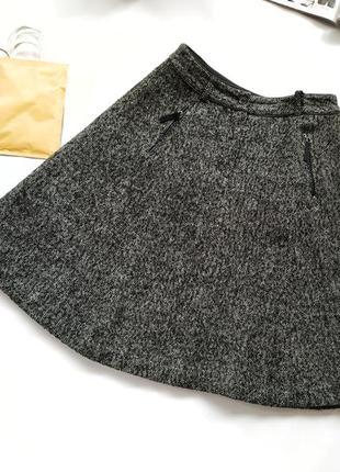 Шикарная серая шерстяная юбка а-силуэт day birger et mikkelsen