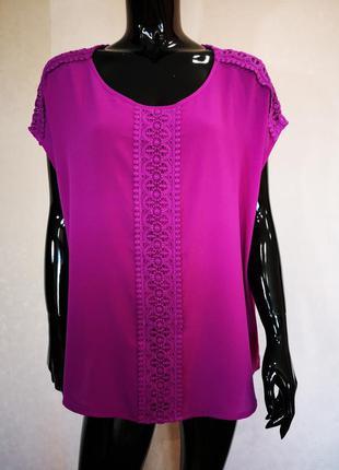 Красивая пурпурная блуза с кружевом батал bon marche