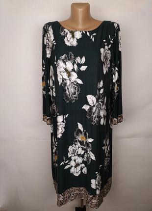 Платье красивое зеленое в цветы большого размера wallis uk 20/...