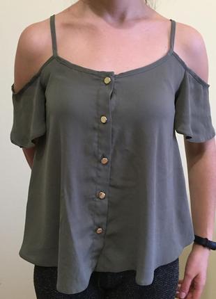 Блуза майка со спущенными плечами