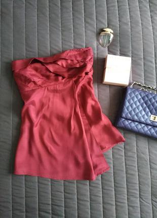Кокетливая блуза (100% вискоза) бордо