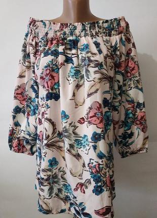Блуза красивая цветочная со спущеними плечами peacocks uk 12/40/m