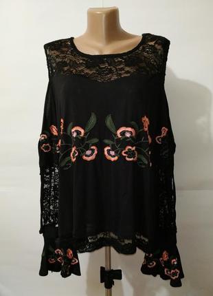 Блуза натуральная красивая с цветочной вышивкой uk 16/44/xl