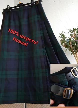 Новая шотландская юбка миди на запах плиссе клетка