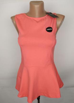 Блуза новая стрейчевая стильная с баской new look uk 8/36/xs