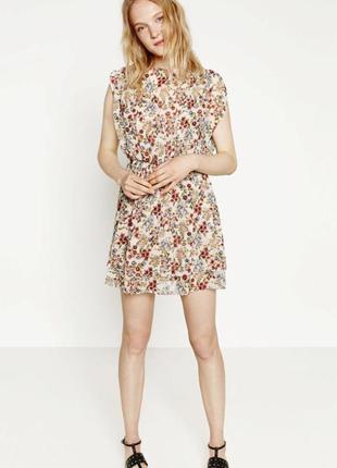 Платье шифоновое в цветы zara размер 10