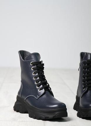 Зимние высокие кожаные ботинки