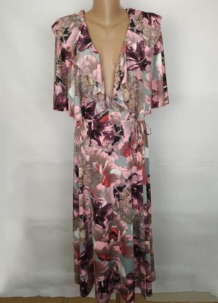 Платье плотное эластичное модное в принт рюши на запах uk 12/40/m