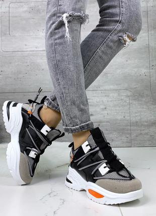 Стильные кроссовки на массивной подошве, чёрные кроссовки с цв...