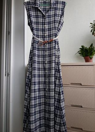 Летнее макси платье в клетку на пуговицах сарафан в рубашечном...