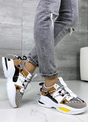 Стильные кроссовки на массивной подошве,белые кроссовки с цвет...