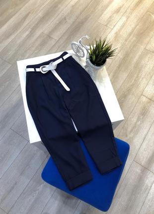 Синие укороченные брюки с поясом зауженные asos, штаны кюлоты