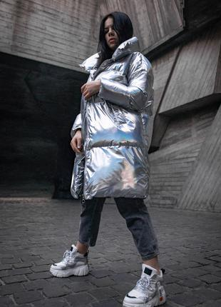 Пуховик серебреный металлик / Пуховик одеяло oversize