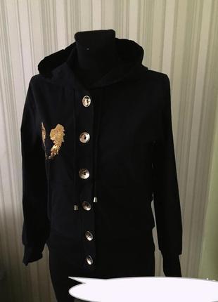 Куртка-кофта бомбер с капюшоном крылья, пайетки