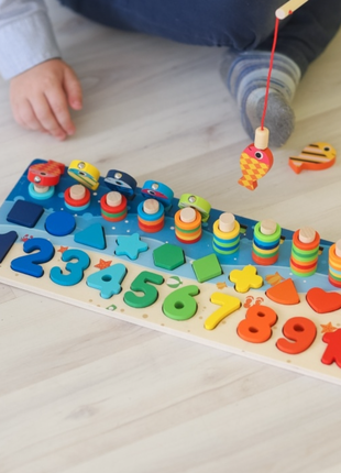 Набор для развития ребенка по принципам Монтессори сортер, рыбал
