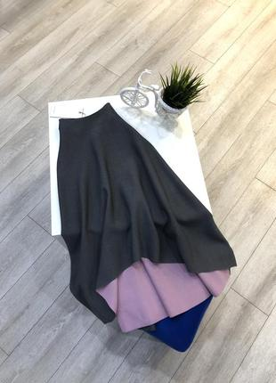 Стильная трикотажная юбка миди трапеция ассиметричная, юбка клёш